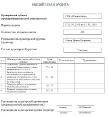 Реферат Аудит производственных запасов и налога на добавленную  Ниже представлении общий план аудита и программа аудита на СПК Щомыслица