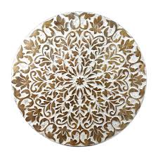 indian heritage wooden round table 24 24 carved mango wood in white and natural wood finish
