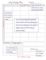 My Weekly Schedule Weekly Schedule Page Teacher Edition