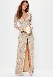 Bridal Nude Long Sleeve Plunge Embellished Maxi Dress Missguided