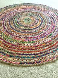 round rag rug chic hippie area vegan circle colorful jute cotton rugs braided throw kitchen indoor
