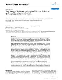 pdf case report of 5 siblings malnutrition rickets digeorge syndrome developmental delay