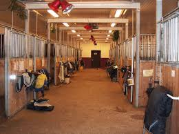 inside of a le showing aisle and tack outside of stalls