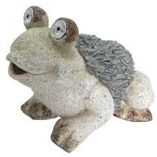 solar frog statue