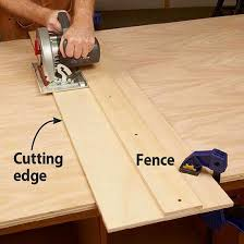 circular saw angle guide. after cutting the guide to match your saw, clamp that edge directly on layout marks. then cut while holding saw against fence. circular angle r