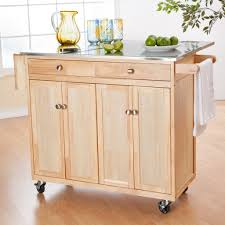 ... Large Size Rolling Wooden Kitchen Island Cabinet With Stainless  Countertop Plus Drop Leaf ...