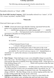 catering agreement wedding catering contract sample