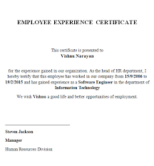 experience letter sample experience certificate lenvica computer solutions