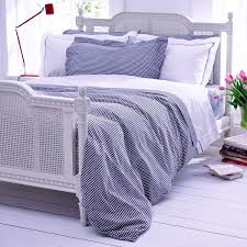 midnight blue gingham duvet cover with white top
