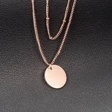 custom logo alphabet letter initial disc round plain 18k gold engraved coin blank pendant necklace