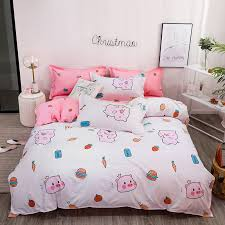 Over the moon for you: Cartoon Cute Pig Bed Linens Pink Bedding Sets Simple Lovely Anime Duvet Cover Quilt Pillowcase Bed Sheet Gift For Kids 3 4pcs Bedding Sets Aliexpress