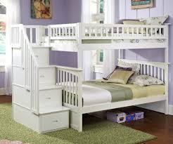Columbia Full Over Staircase Bunk Bed White Bedroom Furniture Atlcol ...