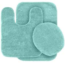 sophisticated blue ocean color memory foam contour bath rug with 3 piece bathroom rug set ideas