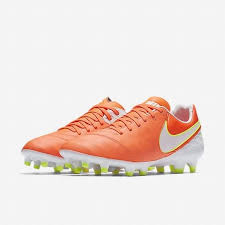 nike tiempo legacy ii fg leather soccer cleats orange white women s size 9 5 for