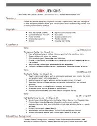 live in nanny resume