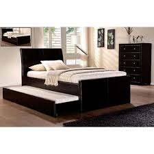 PU Leather King Single Bed Frame w Full Trundle Bed