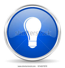 vector square blue icon lighting bulb. light bulb vector icon chrome border round web button silver metallic pushbutton in eps square blue lighting