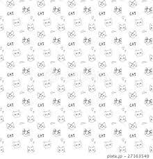 トレンドのおしゃれな落書き風 猫柄シームレスパターン 白背景 アニマル
