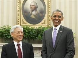 oval office july 2015. us president barack obama and vietnamese general secretary nguyen phu trong meet in the oval office july 2015 t