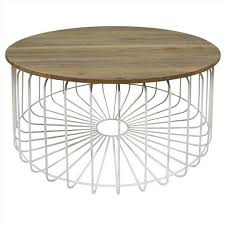 details about arrell solid mango wood timber metal round coffee table white 80cms