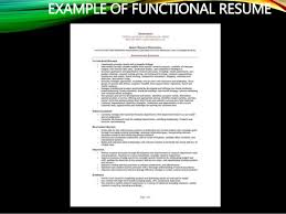 EXAMPLE OF FUNCTIONAL RESUME ...