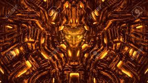 Evil Robot Designs Alien Lamp Stock Illustration