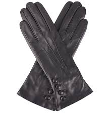 dents evelyn cashmere lined black leather gloves with on cuff