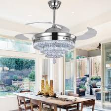 led crystal chandelier fan lights invisible fan crystal lights living room bedroom restaurant modern ceiling fan 42 inch with remote control from china
