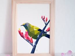 bellbird art native nz birds geometric art new zealand art home art on nursery wall art nz with bellbird art native nz birds geometric art new zealand art home