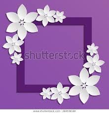 Paper With Flower Border Decorative Violet Papercut Border White Paper Stock Vector