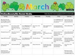 March 2019 Social Media Calendar Onlinebeautybiz