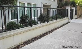 metal fence design. Concrete-blocks-steel-fence Metal Fence Design