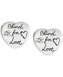 gucci earrings. gucci women\u0027s blind for love sterling silver heart stud earrings ybd45525500100u