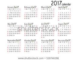 Calendar 217 Calendar 2017 Year On White Background Stock Vector Royalty Free
