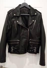 brandslock womens 100 real leather black biker jacket size 16