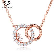 2019 double r genuine diamond necklaces 0 098ct round rose 18 k gold pendants women romantic wedding jewelry customized canl00280ka 3 from xiajishi