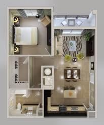 D Floorplans  Leeward Bedroom Apartment Floorplan - Studio apartment floor plans 3d