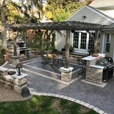 home backyard designs paver patio with wood pergola