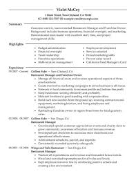 Restaurant Resume Example Restaurant Owner Resume Example Examples of Resumes 46