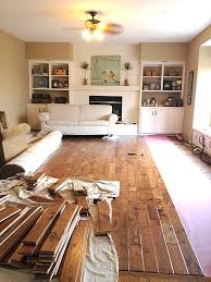 painted brick wood floors built ins
