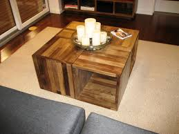 Furniture, Brown Rustic Pallete Wood DIY Cube Coffee Table Designs For  Living Room Decor Ideas