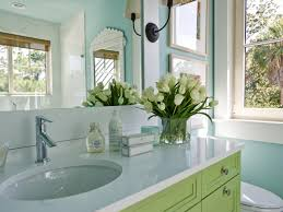 captivating green bathroom. Captivating Ideas Of Robins Egg Blue Bathroom Features Wall Paint Color And Green Wooden Vanity Plus White Marble Top Along With Oval