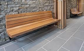 2142-6 Wall-mount Contour Bench (Wood Slats)