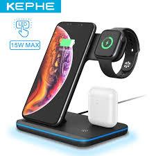 3 Trong 1 15W Sạc Không Dây Qi Dock Station Giá Đỡ Kiêm Giá Đỡ Cho iPhone 11  12 XS XR X 8 S20 Cho AirPods Đồng Hồ Apple 4 3 2 Mobile Phone Chargers
