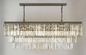 retro odeon glass fringe rectangular chandelier