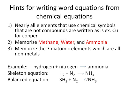 hints for writing word equations from chemical equations