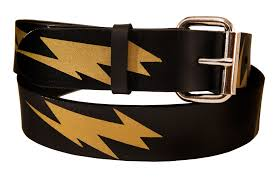 custom made lightning bolt leather belt