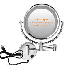 amazon excelvan 8 5 inch led lighted double sided wall mounted makeup mirror 1x and 7x magnification cosmetic shaving bathroom mirror chrome finish