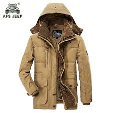 2019 AFS JEEP 2017 Men'S <b>Winter Thicken Warm</b> Hooded Army ...