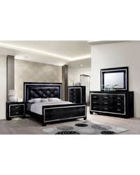 Contemporary Crocodile Textured Details Padded Tufted Leatherette HB  California King Size Bed Dresser Mirror Nightstand 4pc